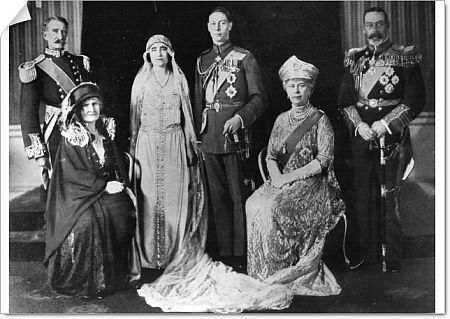 Elizabeth Bowes Lyon (Queen Mother) marries Duke of York (King George VI)  Wedding shot with Geoge V and Queen Mary and parents of Elizabeth  1923