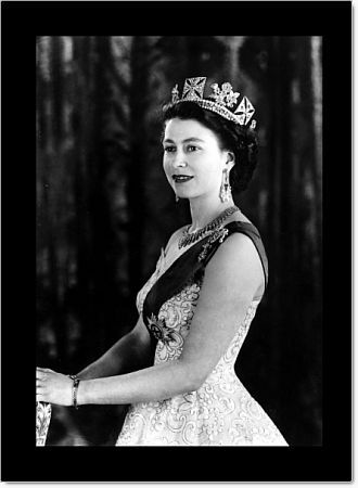 A Royal Command Portrait at Buck  Queen Elizabeth II wearing an evening gown with the blue ribbon of Star of the Garter a diamond necklace ( a wedding present from the City of London) Diamond drop earrings and two diamond bangles