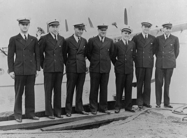"To blaze a new air trail along the 7000 miles route from California to Australia, the newest giant Sikorsky ""Clipper"" flying boat left Alameda, California, on her flight across the Pacific Ocean  photo shows the crew of the ""Clipper&quot"