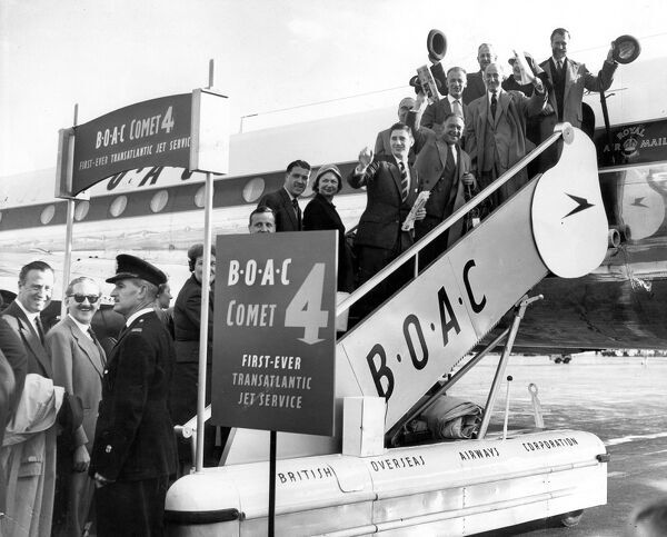 The BOAC Comet 4 beat the much publicised Pan American Airways Boeing 707 in setting up the first transatlantic jet service, with clearance gained from Idlewild airport, New York, the Comet 4 set up aviation history from London airport (pictured)
