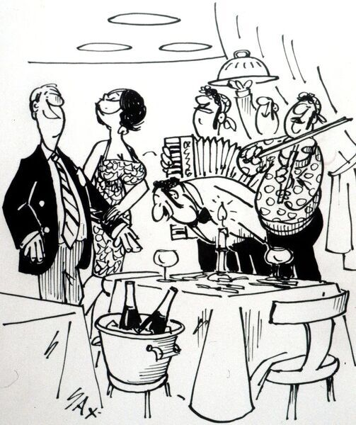 Cartoon by Sax Usually paying little or no attention to political correctness, Sax cartoons are often saucy and irreverent, often a sly look at gender relations, marriage, men, women, drinking, restaurants, family life, health, flirting, adultery, neighbours