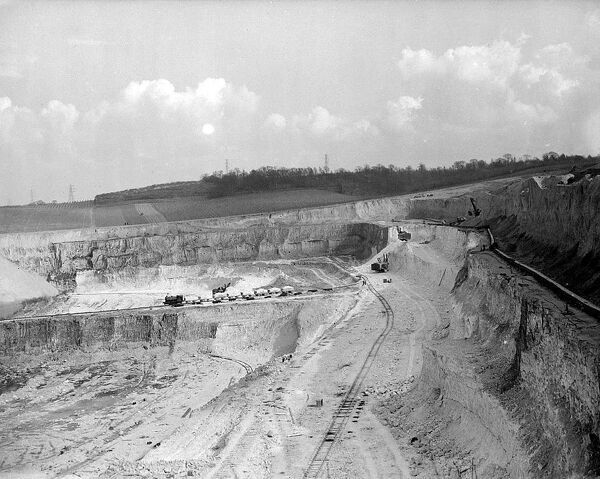 Chalk quarry for cement.  Greenhithe, Kent - 1953