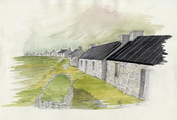 Village, St Kilda    Original watercolour by Dr. J Morton Boyd Scotland, Outer Hebrides Scottish history