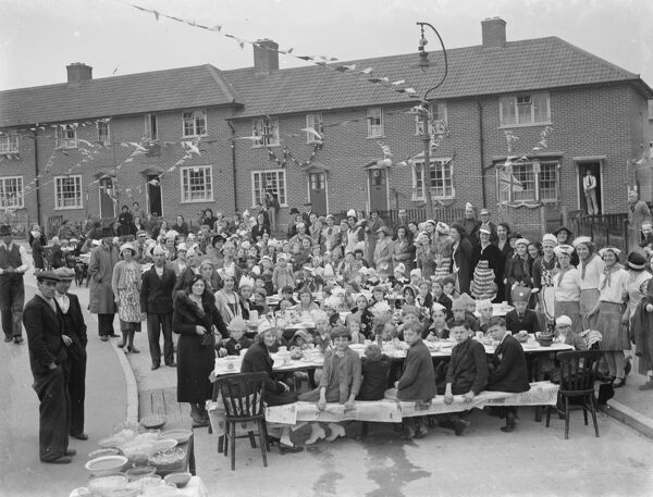 Coronation teas in Mottingham, Kent, to celebrate the coronation of King George VI.  15 May 1937