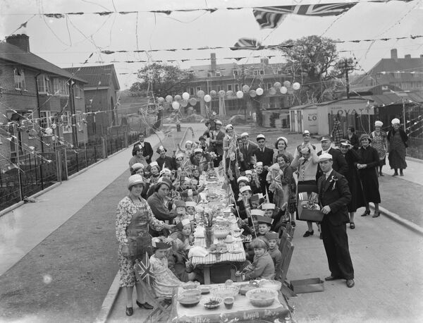 Coronation teas on St Keverne Road in Mottingham, to celebrate the coronation of King George VI.  15 May 1937