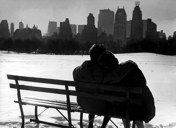 Couple enjoying the snow in Central Park  New York 1962 love couple romance romantic for valentines day be my valentine