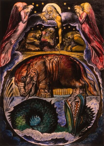 A1 (84x59cm) Poster of The demon-forms of Behemoth and Leviathan as  visualized by William Blake in his 'Illustration