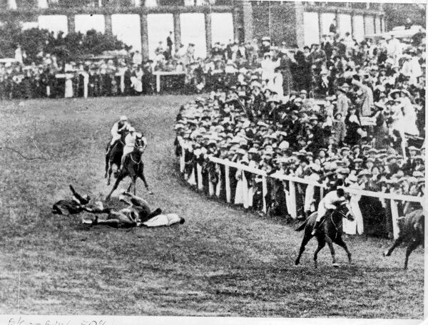 The Derby at Epsom the suffragette incident Emily Davison  The horse Anmer (owned by the king) jockey H Jones