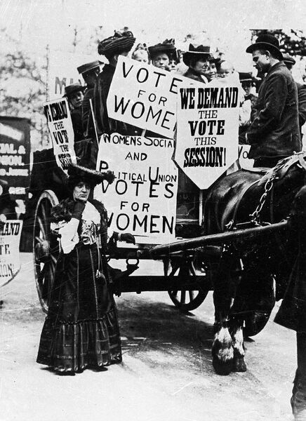 Early suffragette rally at around the turn of the 20th Century.   by the Womens Social and Political Union
