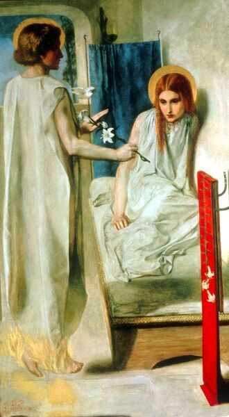 Ecce Ancilla Domini ! (The Annunciation)  by Dante Gabriel Rossetti  Dante Gabriel Rossetti (May 12, 1828 - April 10, 1882) was an English poet, painter and translator