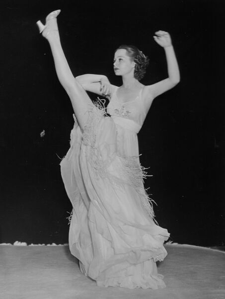 Eleanor Whitney, Paramount tap dancing starlet at a rehearsal.  13 June 1936 dance / dancing / party season / celebration / happy vintage news archive