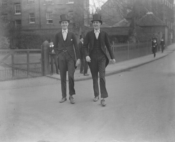 Eton College Twins, The Earl of Dudley 's Sons Puzzle the Master in Berkshire  Eton masters are finding it difficult to distinguish between the 16 year old twins the Hon Edward Frederick Ward and the Hon George Reginald Ward ( left ), of the