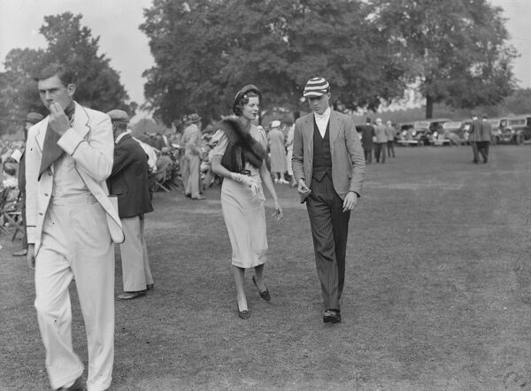 Eton versus Winchester cricket match at Eton   Mr Gibson Watt and Mrs Robert Cobbold  25 June 1937