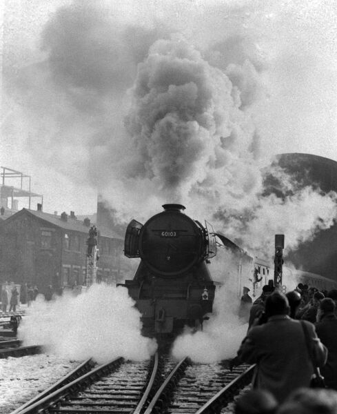 The Flying Scotsman steaming out of King's Cross for the last journey today   14 January 1963 vintage stills archive picture library stock photographic