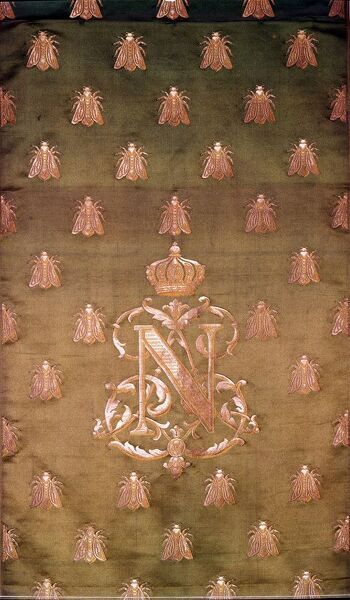 Green and Gold Damask with Crest of Napoleon III and Bees. Charles Louis Napoleon Bonaparte (1808-1873, was a President of France, and later, Emperor of the French.    3001