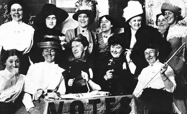 Twelve happy ladies photographed in a San Francisco hotel in November 1919 just after they learned that their state hads ratified the woman suffrage amendment to the Constitution