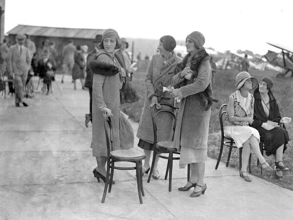Household Brigade Flying Club meeting at Heston Aerodrome, Hounslow, London, England.  Miss Alexandra Andreevsky, Mrs Hargraves and Mrs Kent.  1920s