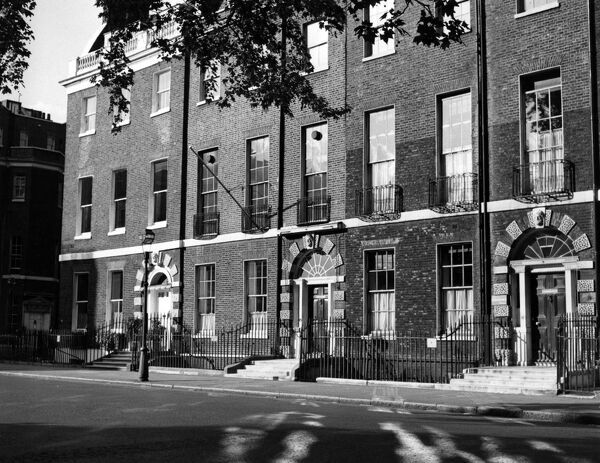 Houses in Bedford Square , Bloomsbury , London , England   1950s fifties. Style is Bloomsbury Group