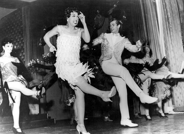 Josephine Baker in her new Revue Paris Mes Amours 1960 dance / dancing / party season / celebration / happy vintage news archive
