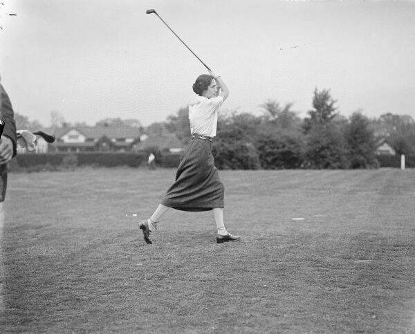Ladies Golf at Walton Heath - Lords versus Commons.  Countess Rocksavage ( Lords ) driving  25 May 1922