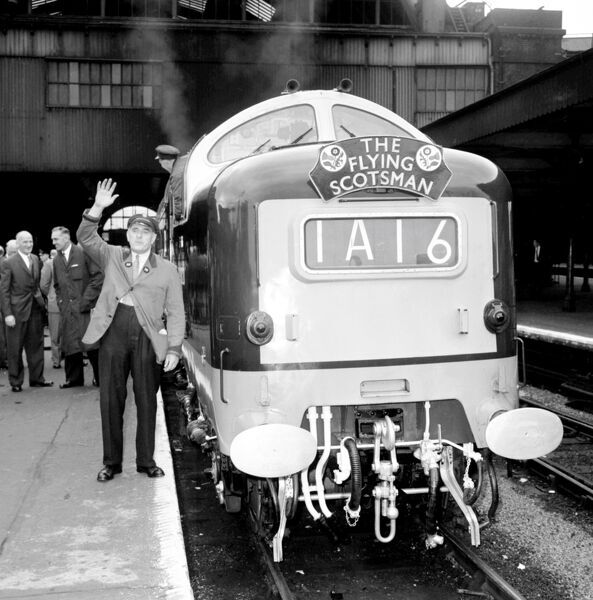 "London: Mr Lord Charles Ellington, of Kings Cross, 57 year old British Railway train driver nicknamed ""The Duke"" stqands beside 90 m"