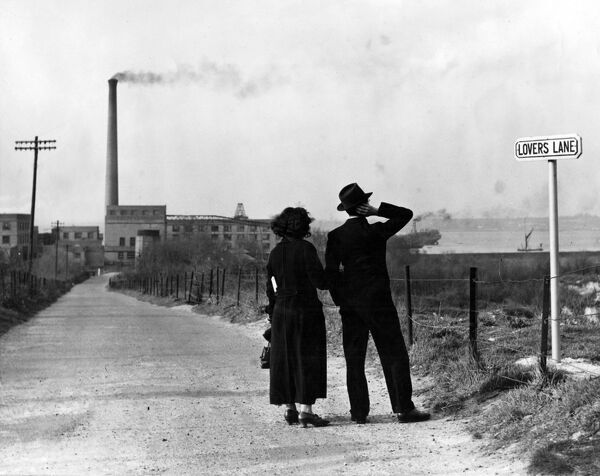 This is Lovers Lane at Swanscombe Kent but whats the use of it now that the atmosphere has gone?! Now the road leads from the main street to a paper mill  23rd March 1938  love couple romance romantic for valentines day be my valentine