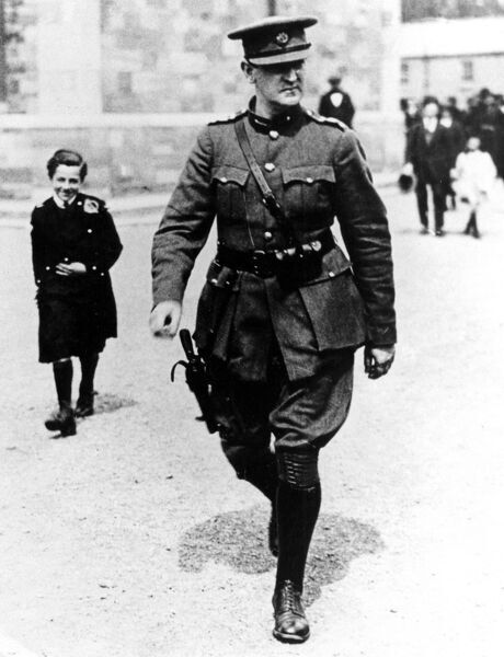 Michael Collins 1890-1922) Irish Nationalist, Sinn Fein leader, founder and director of intelligence of the Irish Republican Army 1919, minister for finance in the provisional government of the Irish Free State 1922, and for ten days Head of