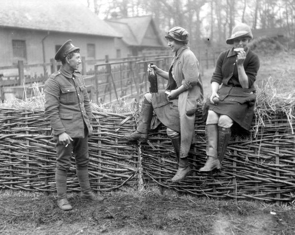 Milkmaids being trained under the National Service Scheme at Epping Forest.  28 March 1917 love couple romance romantic for valentines day be my valentine