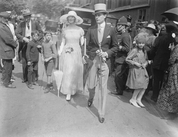 Miss Brenda Hamilton, daughter of Lord and Lady Ernest Hamilton and Count de Caraman Chimay, were married at St Marys church, Cadogan Street. Mr and Mrs Buchanan Jardine leaving the church after the ceremony  1 June 1922