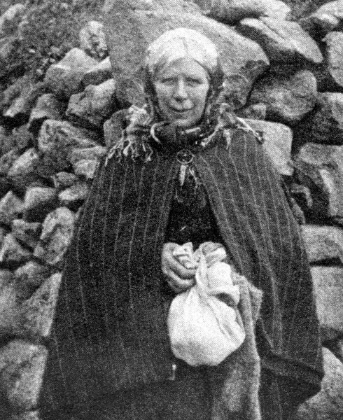The Evacuation of St Kilda: Island types; And scenes of departure.  A St Kilda woman selling Sea - Bird eggs.  6 September 1930 Scotland, Outer Hebrides Scottish history