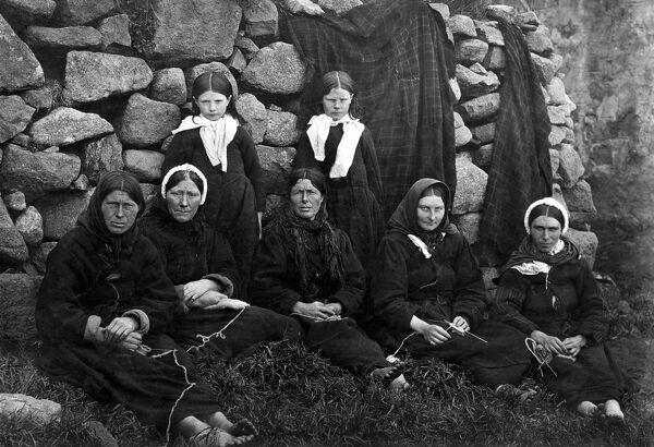 St Kilda - a group of women and girls  Outer Hebrides Scotland, Outer Hebrides Scottish history