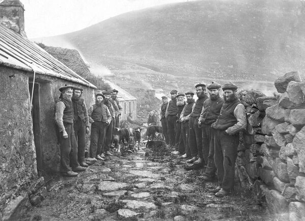 The Village Parliament was held opposite the Post Office, here the men of the island met to discuss their plans for the day   Scotland, St Kilda - 1927 Scotland, Outer Hebrides Scottish history