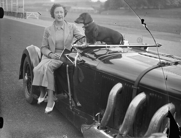 Mrs Roy ( Marjorie ) Eccles, first woman racing driver to compete on the new course. She drove her Mercedes car over the Crystal Palace road racing circuit when she made an inspection of the track.  7 July 1937