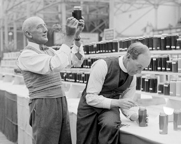 The National Show of Bees and Honey is in progress at the Crystal Palace in London - photo shows the Rev M Yate-Allin of Doncaster and Mr Gilbert Berratt of Ropley in Hants judging he honey    October 3rd 1934