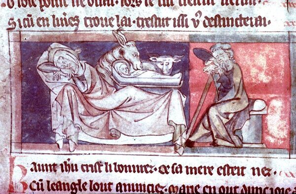 The Nativity. Mary asleep on a couch. Joseph on a chair. English, c. 1300