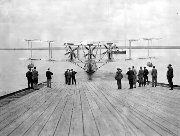 "The new giant Blackburn flying boats ("" Iris"" III type) at the launch at Brough (Yorks) 25th June 1931"