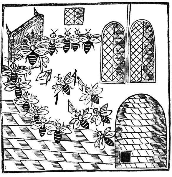 "' The Parliament is held, Bils and Complaints   Heard and reform ' d, with feverall restraints   Of Usurpt freedome ; instituted Law   To keepe the Common Wealth of Bees in awe '     Woodcut illustration from John Day 's "" Parliament of Bees"