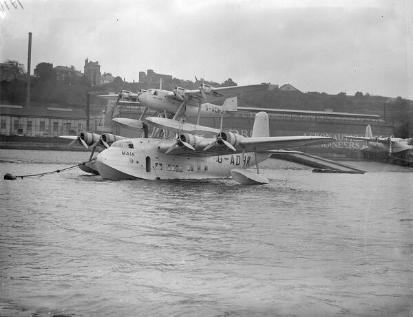 "The two parts of the Mayo visit aircraft the ""pick a back"" plane and now completed at Rochester where the mercury for injured the claim has been placed on top of the Maia 3350 hp flying boat"