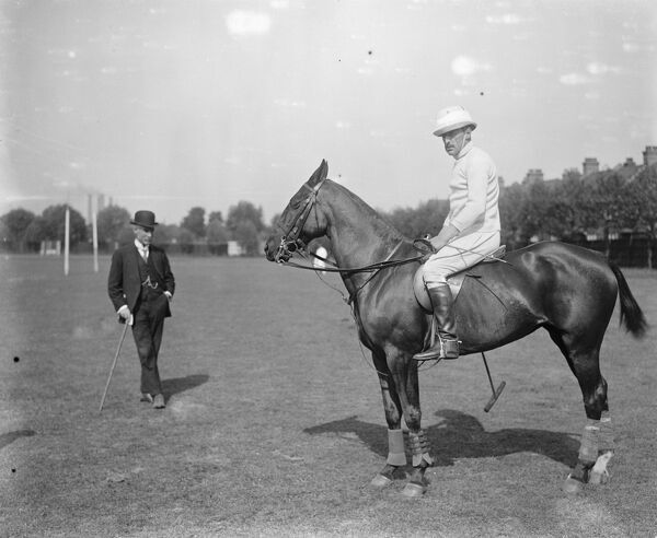 Polo at the Hurlingham Club - Major FW Barratt, no. 2 in the English Polo team.  19 May 1921