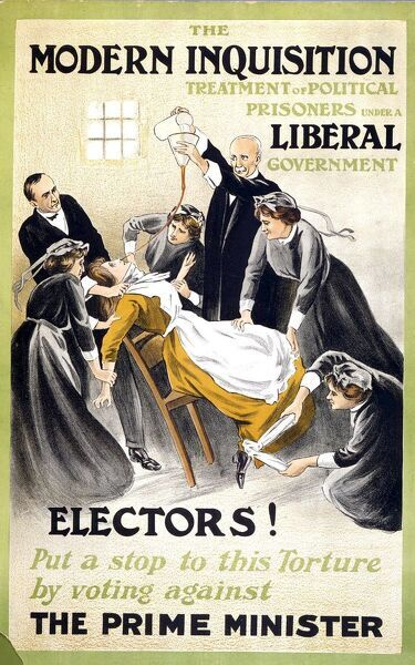 A poster showing a suffragette being forced fed issued as an election poster by the militant suffragettes
