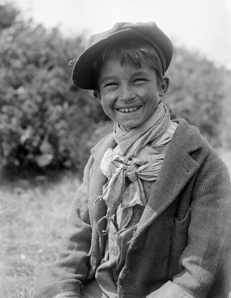 A Romany gypsy boy at the Epsom race meeting .   Late 1940's , early 1950's