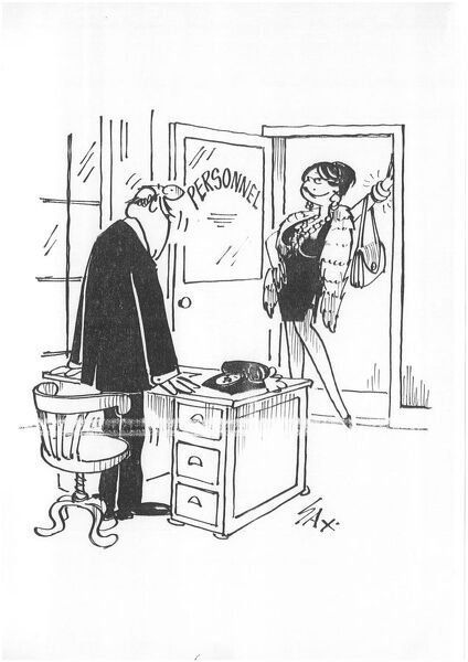 Sax Usually paying little or no attention to political correctness, Sax cartoons are often saucy and irreverent, often a sly look at gender relations, marriage, men, women, drinking, restaurants, family life, health, flirting, adultery, neighbours