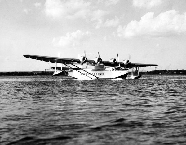 Sikorsky S42 giant seaplane flown by Colonel Lindbergh for Pan American Airways broke all existing records for transport seaplane flights, averaging 157
