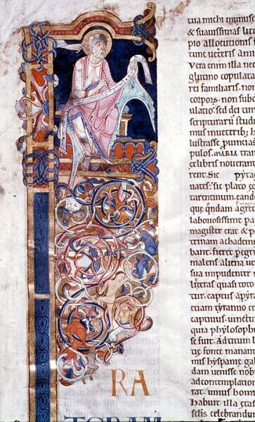 St Jerome writing his preface with hand of God on left. Lambeth Bible. History of London - Vauxhall / Lambeth