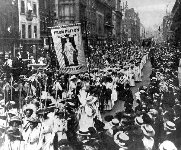Suffragettes demonstrating in London The wands they carry 617 are one for each conviction a suffragette has had. 1910