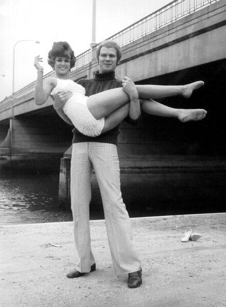 Swept off her feet by her pop idol Long John Baldry, is beauty queen Christine James, froma Ramsgate Kent September 1968