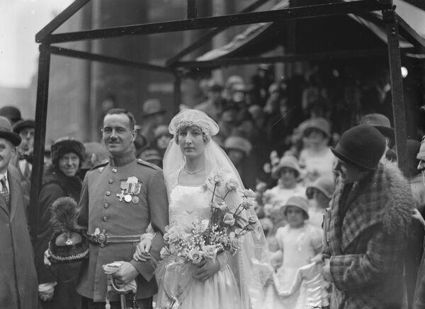 Tuesday 's wedding.  The marriage between Flt Lt Denys Gilley, DFC, RAF, and Miss Kathleen Stocken, took place at All Souls ' Church, Langham Place on Tuesday.  Bride and bridegroom.  27 April 1926