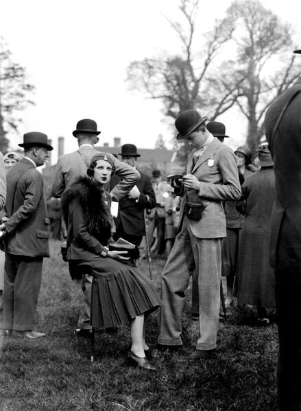 United hunt meeting at Lingfield Surrey 1st May 1933  Lady Fiona Fuller and her brother Lord Roderick Pratt