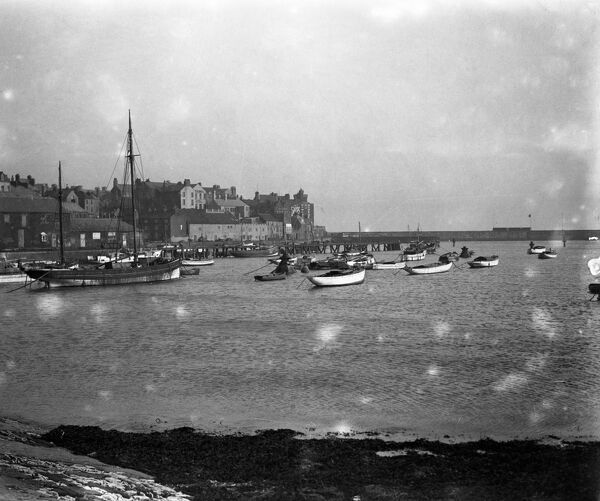 A view of Bridlington Harbour and town, Yorkshire .  11 January 1930 Fish where the fish are