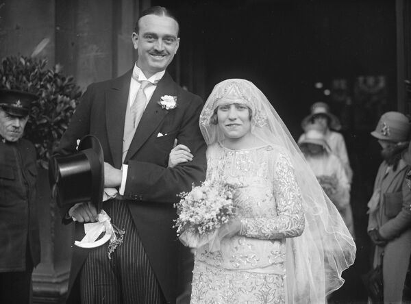 Wedding.  The marriage took place at St Martin in the Fields of Mr A J V Venables and Miss E Woodman Burbrdge.  Bride and bridegroom.  21 April 1926